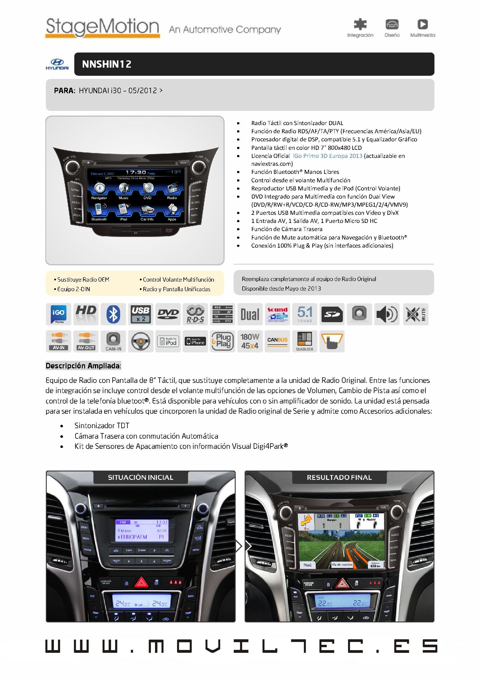 Accesorios-automóvil-Moviltec-Nuevo-Sistema-de-Navegación-para-Hyundai-i30